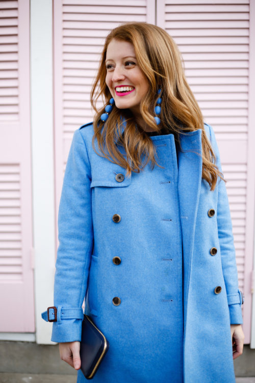 design darling blue trench coat j.crew