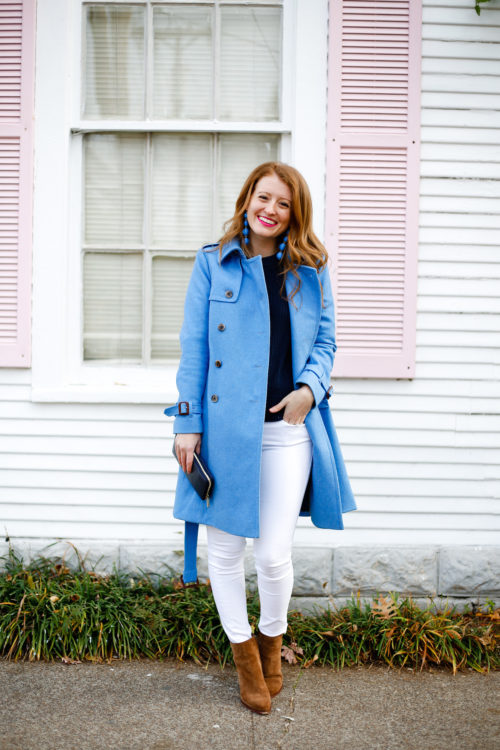 design darling j.crew trench coat in blue