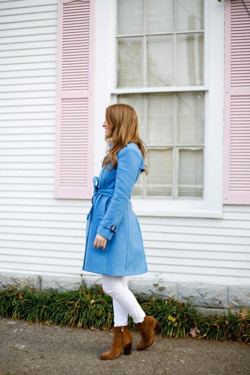 j.crew heather twilight blue wool trench coat on design darling