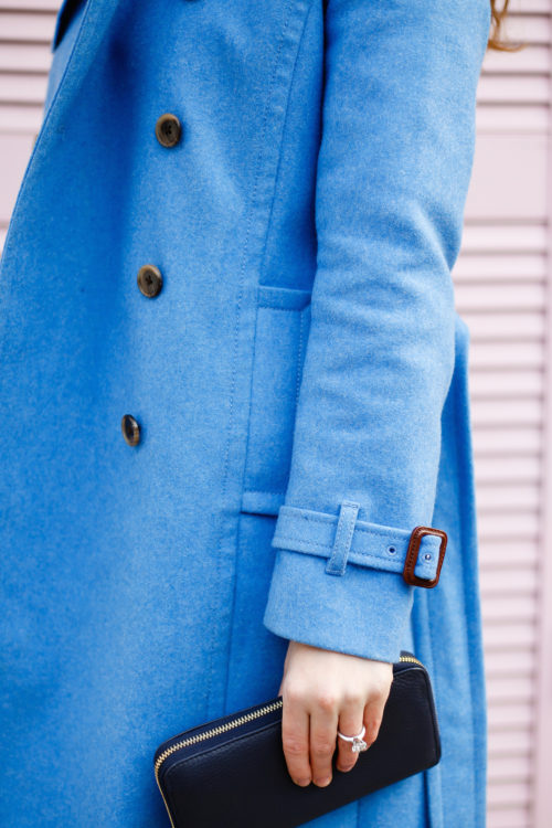 j.crew wool trench coat in heather twilight and cuyana zip wallet in navy