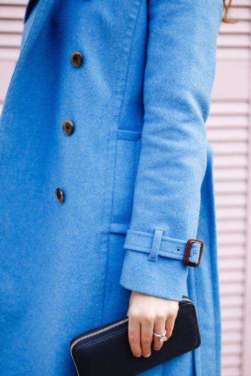 j.crew wool trench coat in heather twilight and cuyana zip wallet in navy