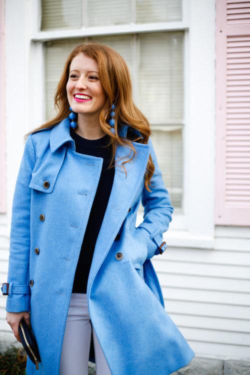 j.crew wool trench coat in heather twilight blue on design darling