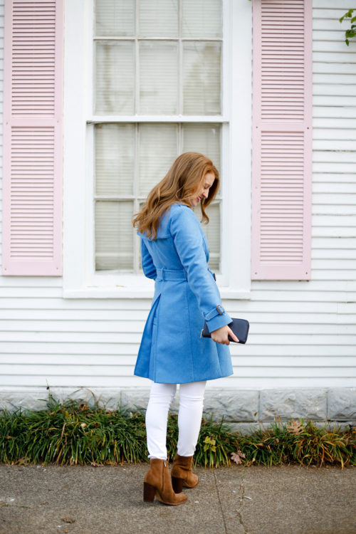 j.crew wool trench coat in heather twilight with white jeans and sam edelman blake booties