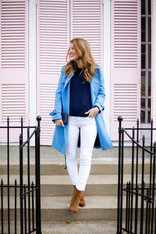 mackenzie horan blue trench coat from j.crew with white jeans and suede booties