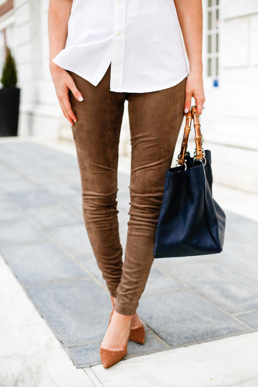 bb dakota faux suede leggings and manolo blahnik bb pumps - Design ... 8964433723e1b