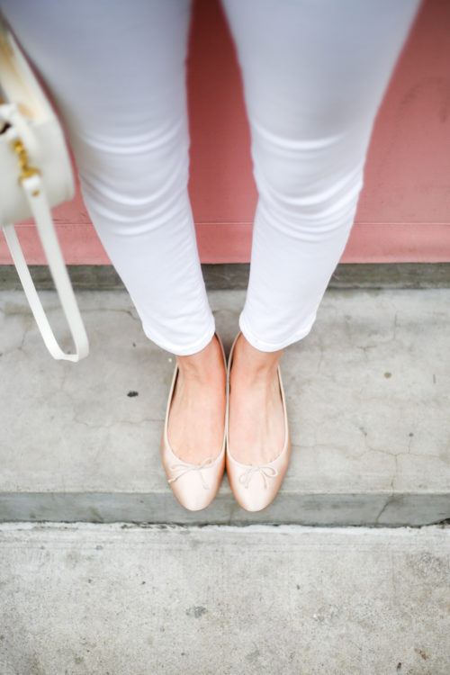 j.crew satin ballet flats with white jeans
