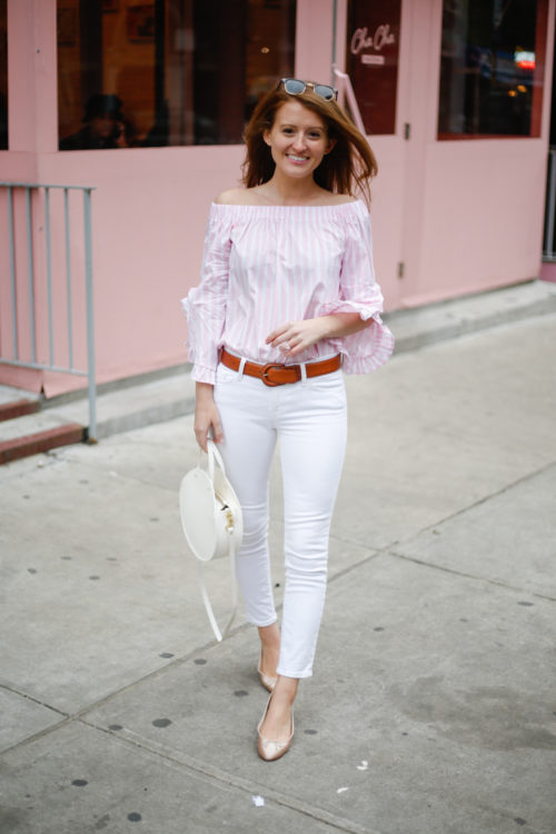 mango off the shoulder ruffle sleeve top in pink and white stripe