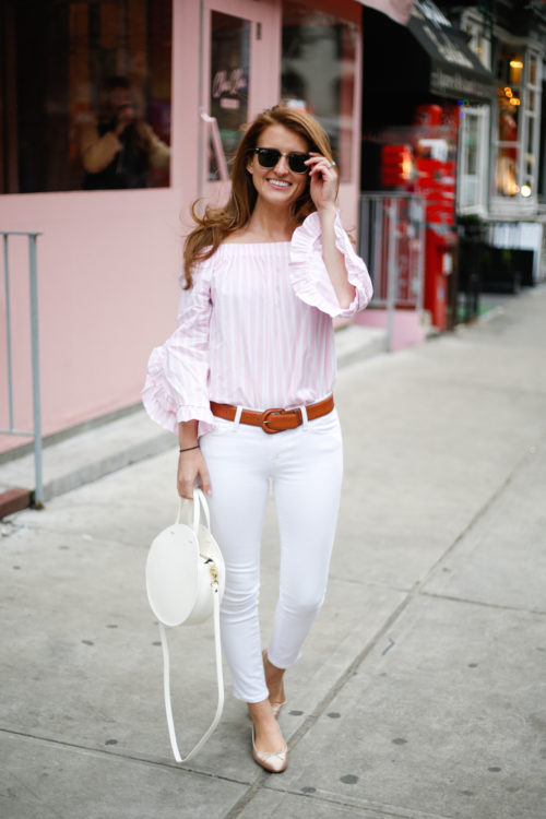 mango off the shoulder top in pink and white stripe with ruffle sleeves