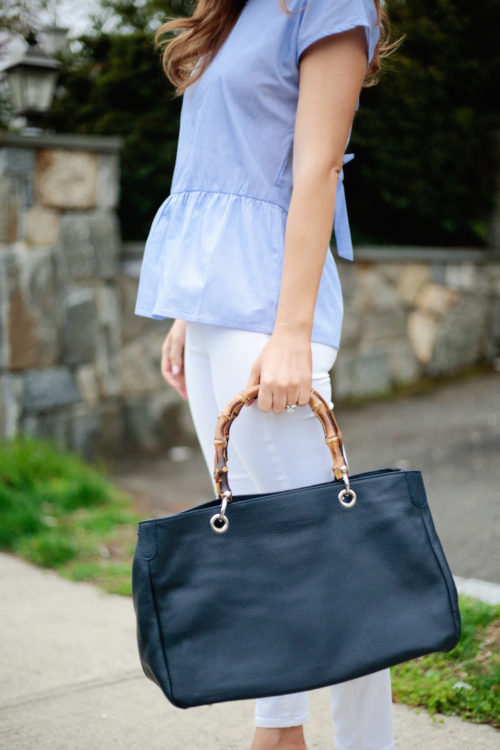 AQUA Stripe Tie-Back Peplum Top and Mark and Graham Bamboo Elisabetta Slouch Handbag on Design Darling