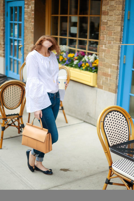 0495ab7bb61 Banana Republic Easy Care Eyelet Flare-Sleeve Shirt Ferragamo Varina Flats  in Oxford Blue and Tory Burch Block T Top Handle Satchel on Design Darling