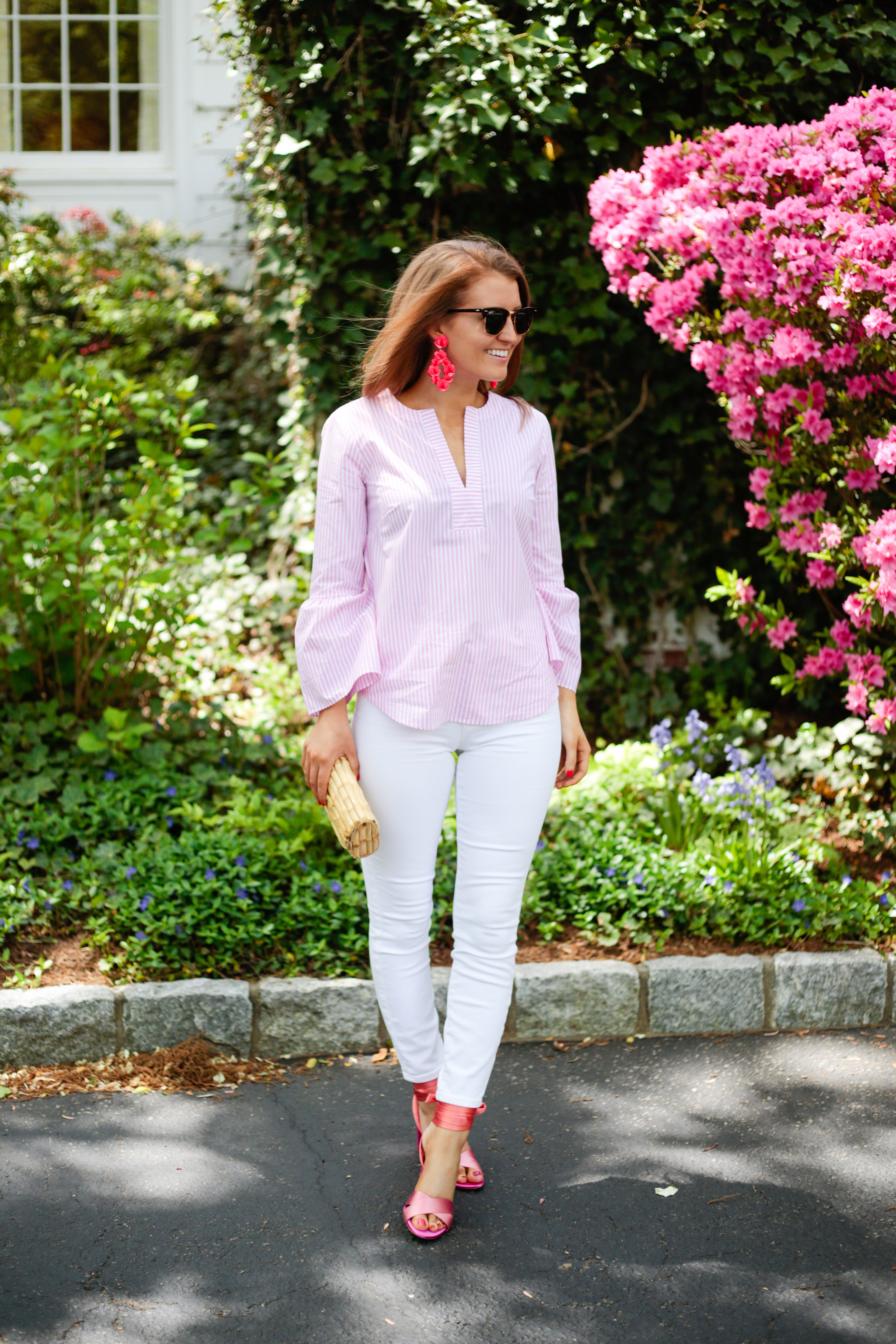 468adc457b3 J.Crew leather-backed sequin petal earrings J.Crew lookout high-rise crop  jean in white J.McLaughlin natural bamboo clutch J.Crew satin colorblock  sandals ...