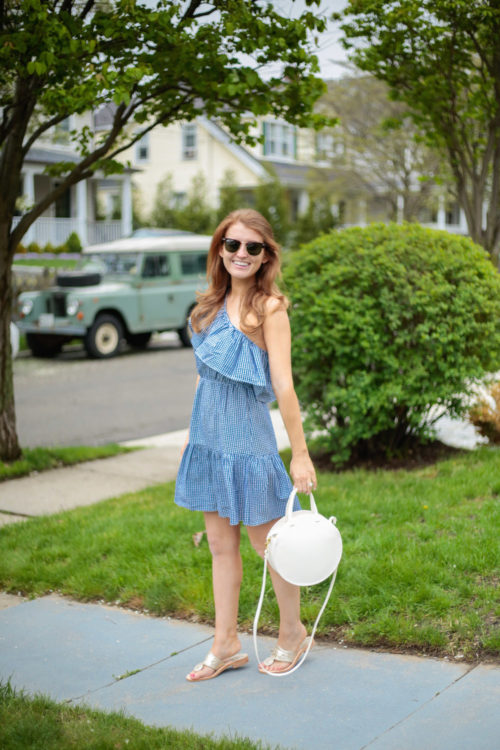 Minkpink Wanderer One Shoulder Dress and Clare V white circle bag