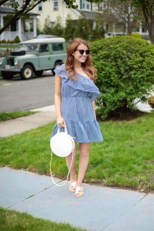 Minkpink Wanderer One Shoulder Dress in Blue Gingham