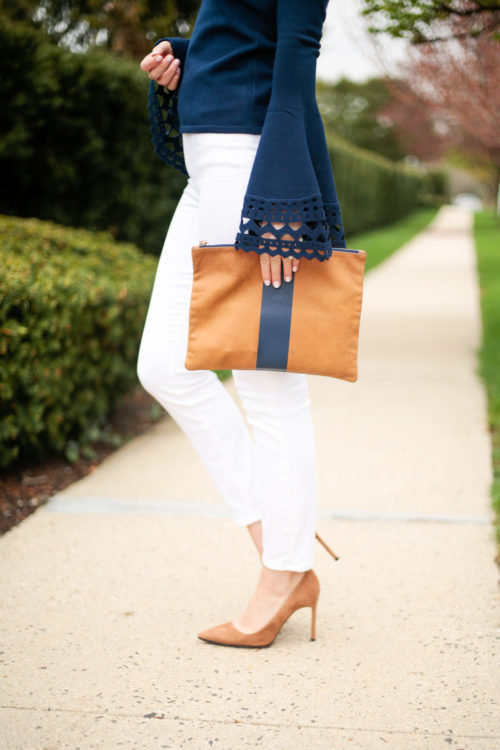 milly cutout flare sleeve pullover clare v flat clutch navy stripe manolo blahnik bb pumps camel suede