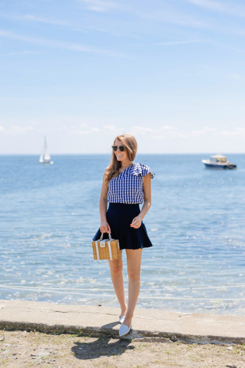 milly gingham shirting cindy top milly italian cady flutter culotte shorts milly wicker small satchel m.gemi stellato flats in white