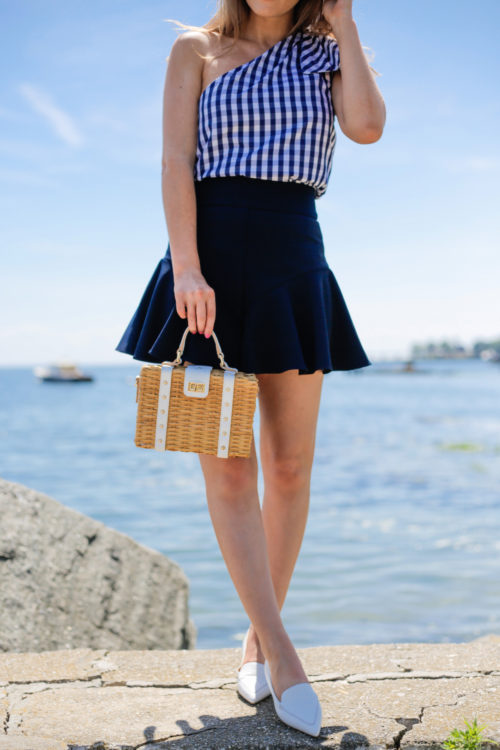 milly gingham shirting cindy top milly italian cady flutter culotte shorts milly wicker small satchel m.gemi stellato flats in white on design darling