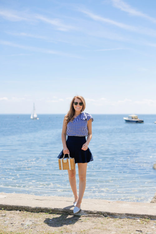 milly gingham shirting cindy top milly italian cady flutter culotte shorts milly wicker small satchel m.gemi stellato flats white