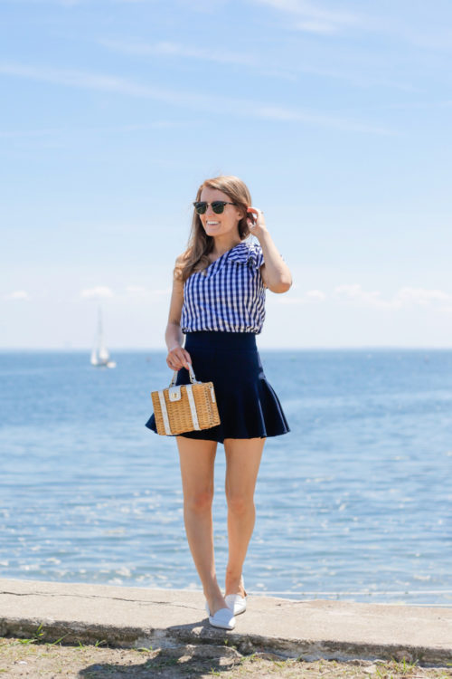 milly gingham shirting cindy top milly italian cady flutter culotte shorts milly wicker small satchel m.gemi stellato flats white design darling