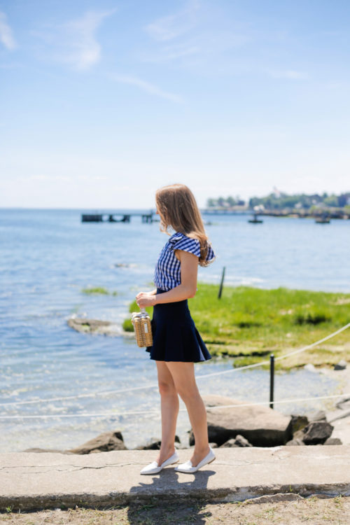 milly gingham shirting cindy top milly italian cady flutter culotte shorts milly wicker small satchel m.gemi stellato flats white on design darling