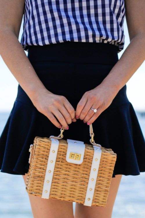 milly gingham shirting cindy top milly italian cady flutter culotte shorts milly wicker small satchel on design darling