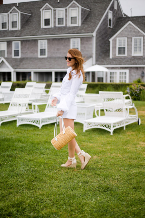 all white outfit with pamela munson agatha satchel