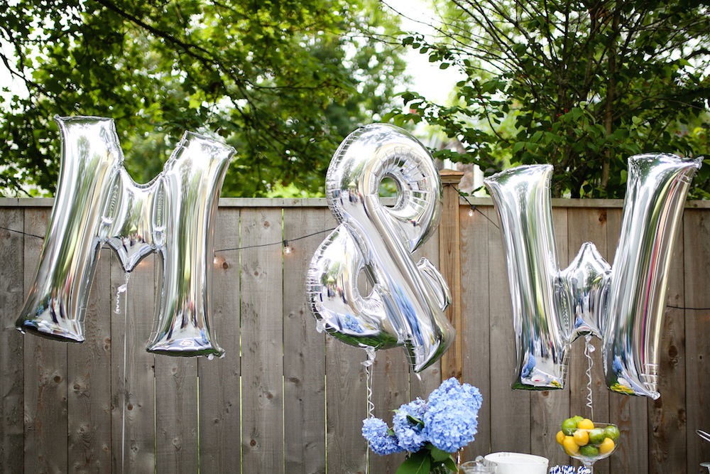 design darling bridal shower silver letter balloons