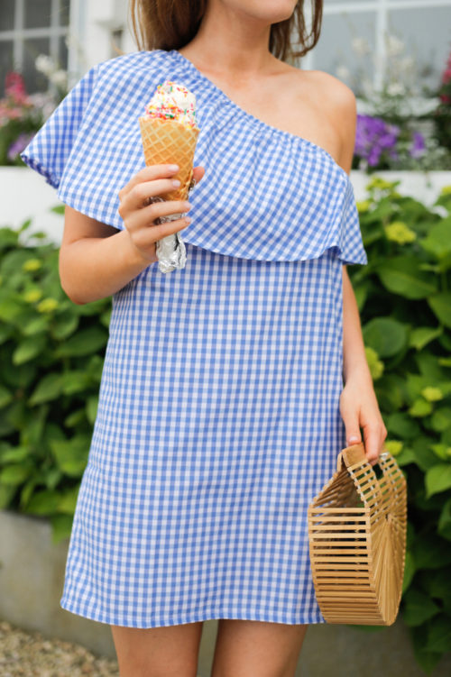 mlm label henri frill shoulder dress in blue gingham juice bar nantucket