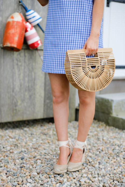 mlm label henri frill shoulder dress in blue gingham soludos wedge espadrilles