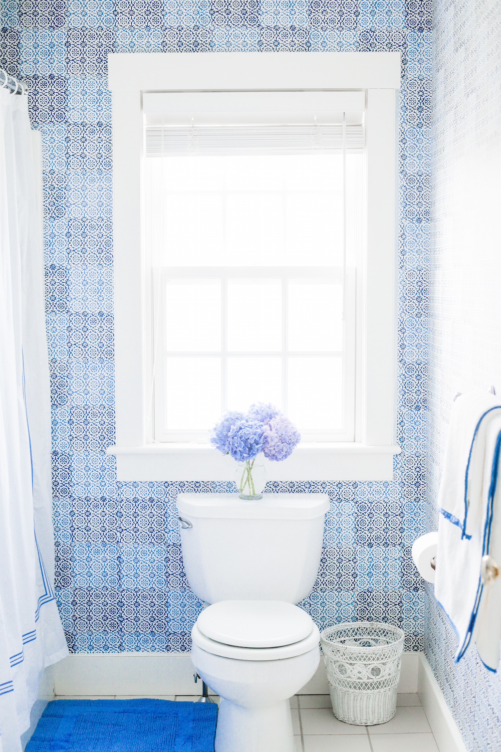 Peter Fasano Sintra Wallpaper Pine Cone Hill Trio French Blue Shower Curtain Signature Banded White Towels
