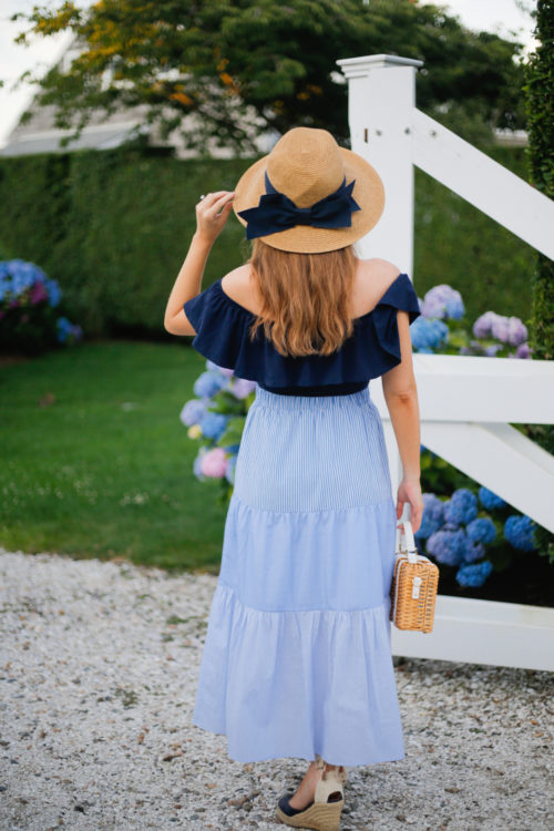 tuckernuck bow hat j.crew off-the-shoulder ruffle bodysuit tuckernuck striped maxi skirt