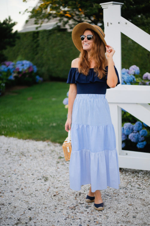 tuckernuck packable hat j.crew off-the-shoulder ruffle bodysuit tuckernuck striped maxi skirt