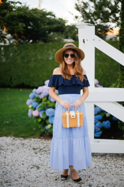tuckernuck packable sunhat j.crew off the shoulder bodysuit tuckernuck emerson striped combo skirt milly small wicker satchel