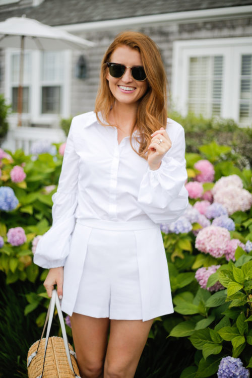 tuckernuck sloane shirt alice + olivia larissa shorts in white