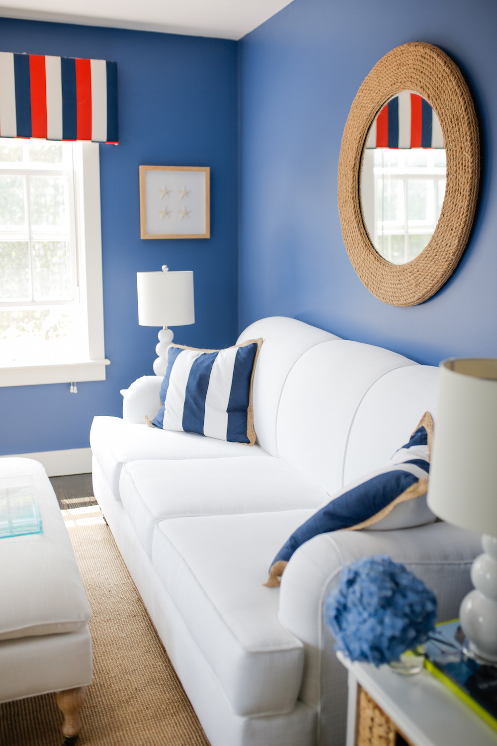 1 design darling nantucket sitting room overstock alice traditional roll arm sofa palimar sisal rope and glass mirror