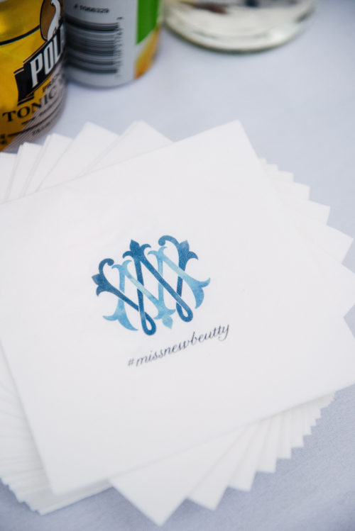 design darling wedding crest on custom cocktail napkins