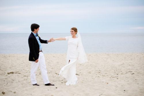 design darling wedding dress on beach