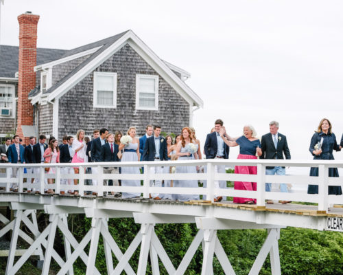 design darling wedding guests on sconset foot bridge