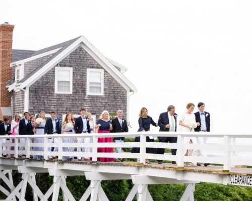 design darling wedding party on sconset foot bridge