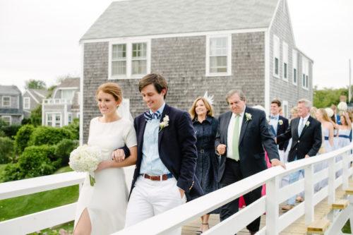 design darling wedding walk across sconset foot bridge