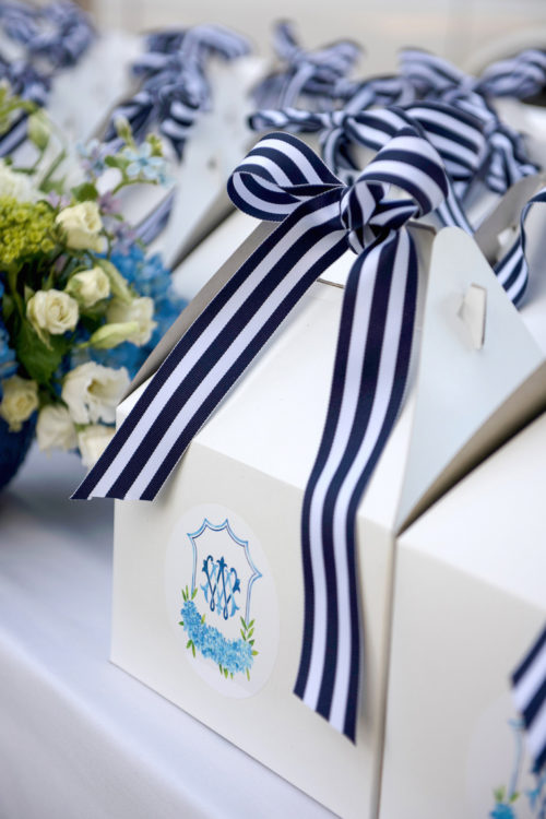 design darling welcome boxes for nantucket wedding