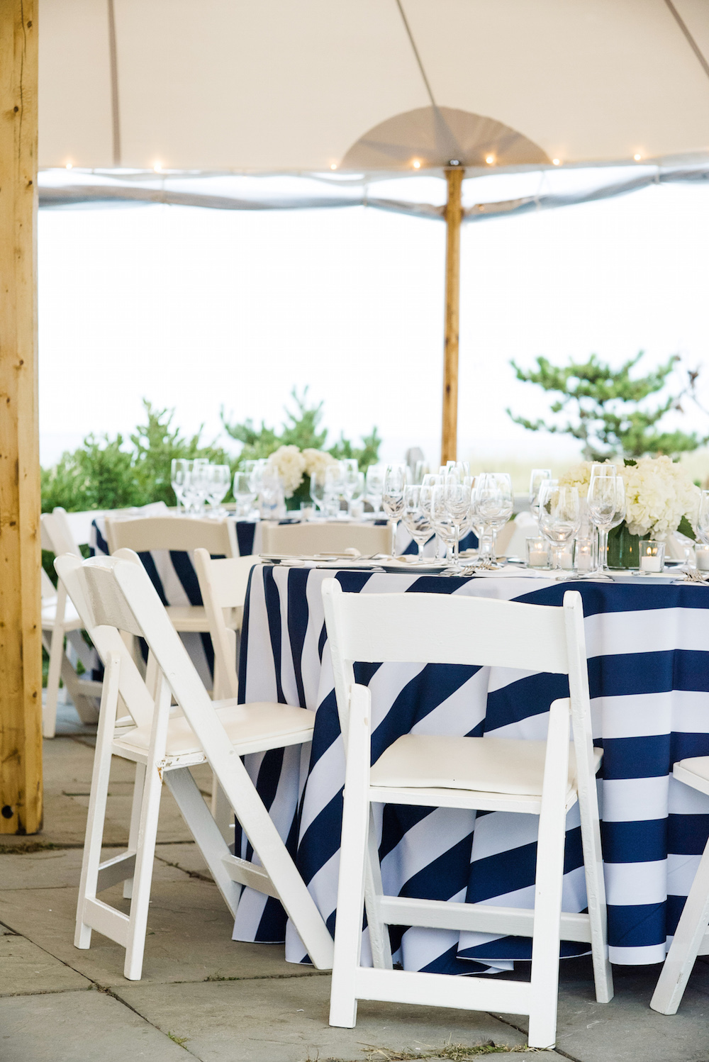 Navy And White Striped Tablecloths For Wedding