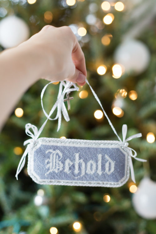 behold needlepoint christmas tree ornament