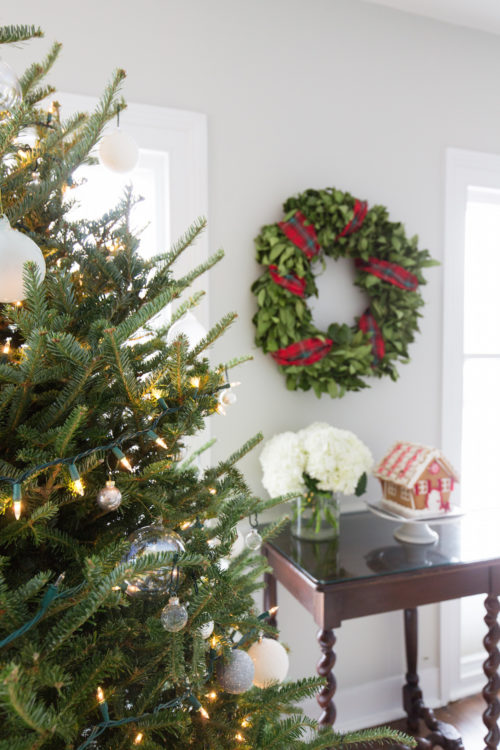 christmas wreath with tartan ribbon