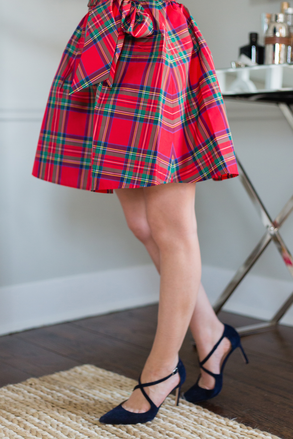 eece42c6d0 vineyard vines jolly plaid taffeta party skirt and manolo blahnik umice  suede crisscross pumps