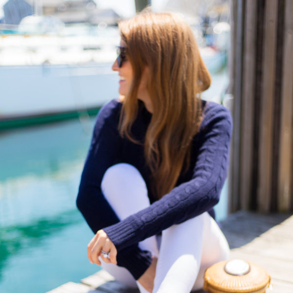 design darling navy cable knit cashmere sweater and stubbs & wootton