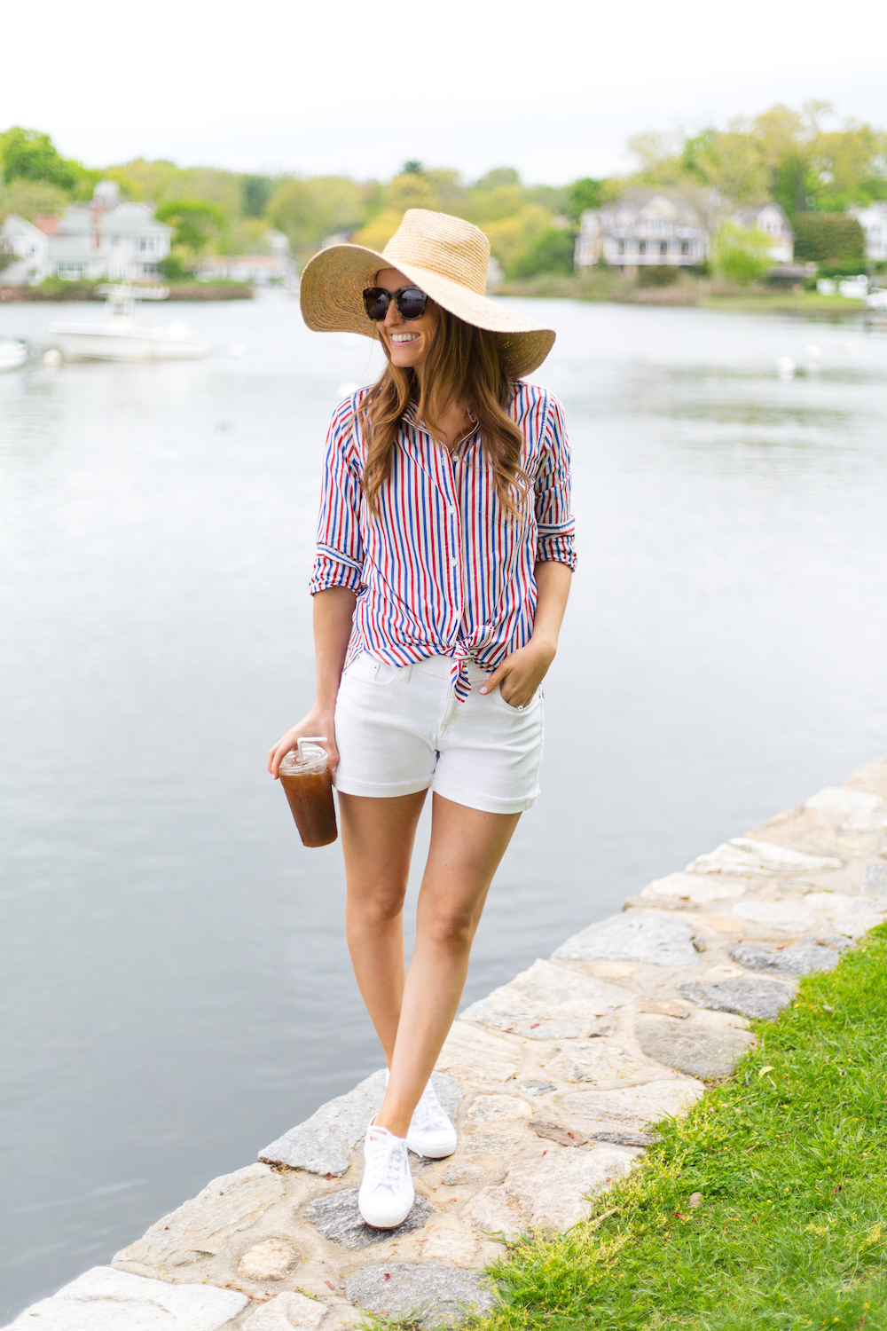 697e1fbdfe j.crew classic-fit boy shirt in red-and-blue stripe straw sun hat and denim  short in white