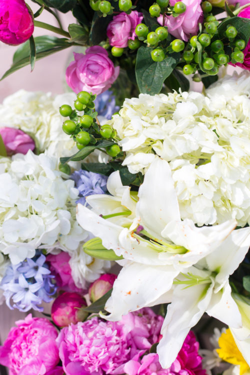 pink peonies and white lilies