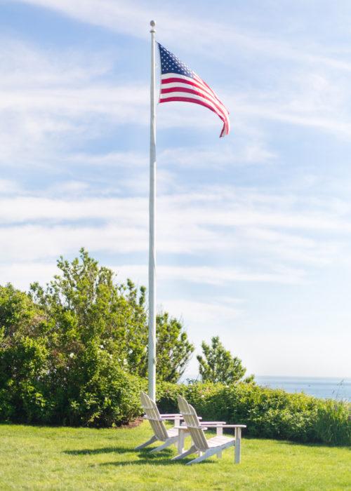 american flag on sconset bluff walk nantucket