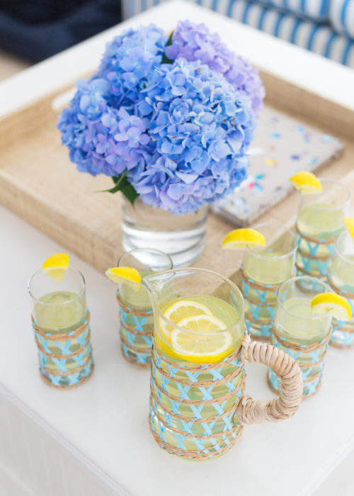 amanda lindroth island pitcher and iced tea glasses in light blue