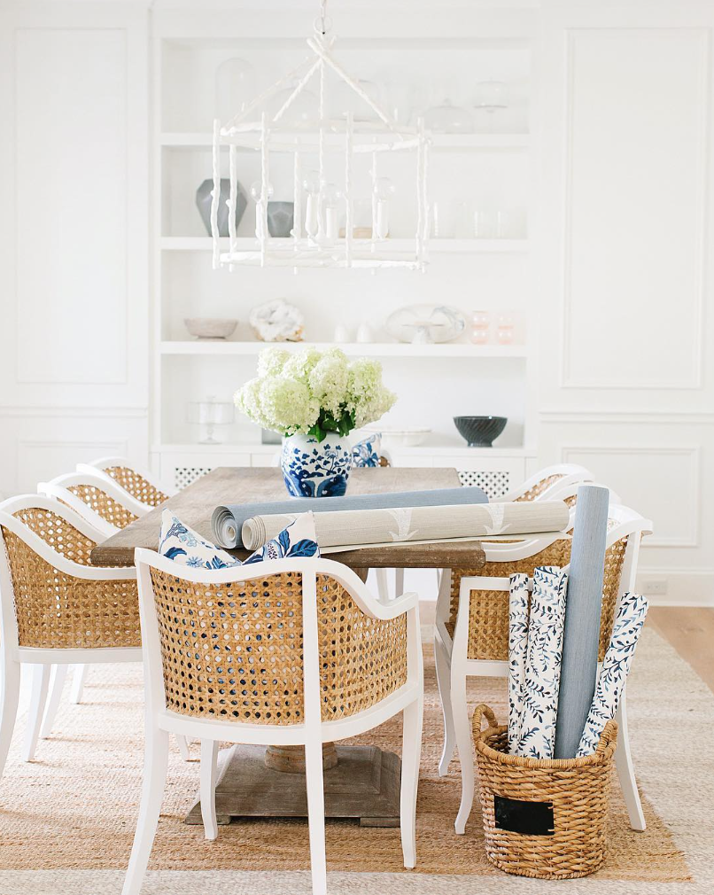 monika hibbs dining room with cb2 tayabas cane side chair
